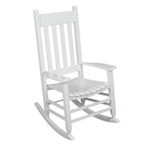 Outdoor Rocking Chair White The Solid Hardwood Chairs Provide Comfortable Seating on Patio or Deck. Guaranteed. The Porch Rocker with a Wide Wood Seat and Back Slats Also Looks Good in the Backyard Garden, Gazebo or Even in the Indoor Sun Room.