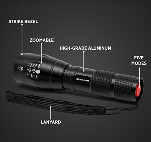 GearLight LED Tactical Flashlight S1000 [2 PACK] High Lumen, Zoomable, 5 Modes, Water Resistant, Handheld Light Best Camping, Outdoor, Emergency, Everyday Flashlights