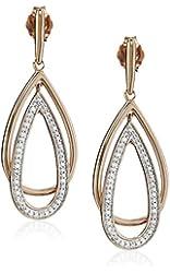 14K Rose Gold over Sterling Silver Diamond Drop Shape Dangle Earrings (1/5 cttw)
