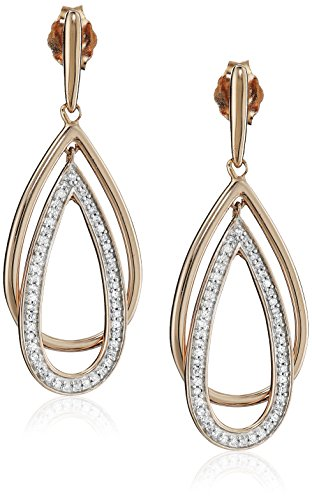14K Rose Gold over Sterling Silver Diamond Drop Shape Dangle Earrings (1/5 cttw) by Amazon Collection