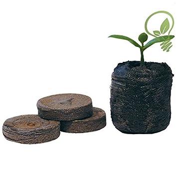 Paquete de 100 unidades de tabletas de turba de 41 mm con nutrientes para jardinería de Jiffy: Amazon.es: Jardín