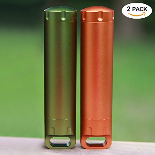 Outdoor Survival Waterproof Capsule Pill Containers (2 Pack),Large Aluminum Airtight Match Case EDC Accessory Dry Box by CLINE,Gift Box