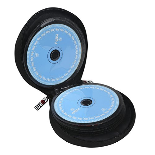 BUBM Portable Round 32 CD Disc Storage Case Bag Heavy Duty CD/ DVD Wallet for Car, Home, Office and Travel (Blue)