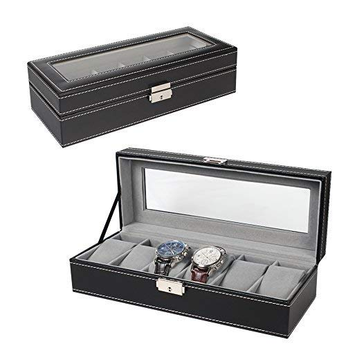 (NEX 6 Slot Leather Watch Box Display Case Organizer Glass Jewelry Storage Black)
