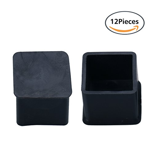 GLE2016 12Pcs 30x30mm Black Square Rubber Chair Table Foot Cover Furniture Leg Protectors (30x30mm)