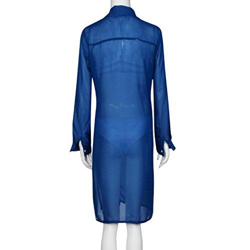 Vovotrade - Las mujeres de manga larga blusa de la gasa Azul