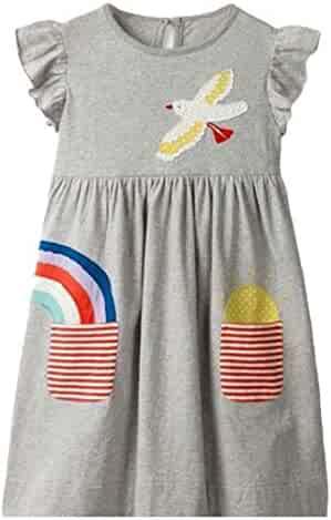 3bf165a7d76 Jotebriyo Little Girls Short Sleeve Print Casual Summer T-Shirt Dress  Princess Dresses