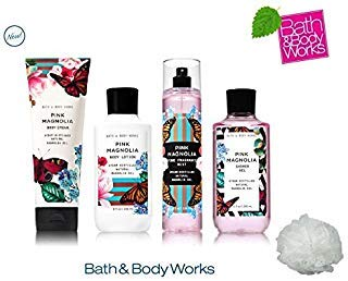 Bath and Body Works PINK MAGNOLIA Deluxe Gift Set Lotion ~ Cream ~ Fragrance Mist ~ Shower Gel + FREE Shower Sponge Lot of - Wash Body Deluxe