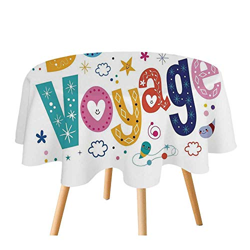 "C COABALLA Going Away Party Decorations Polyester Round Tablecloth,Happy Message Colorful Cartoon Funny Faced Airplane Journey for Home Restaurant,70.8"" Round"