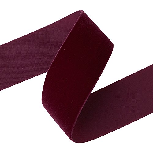 Premium Swiss Velvet Ribbon - Sold by the Yard (2'' x 5 Yards, Bordeaux) by M&J Trimming
