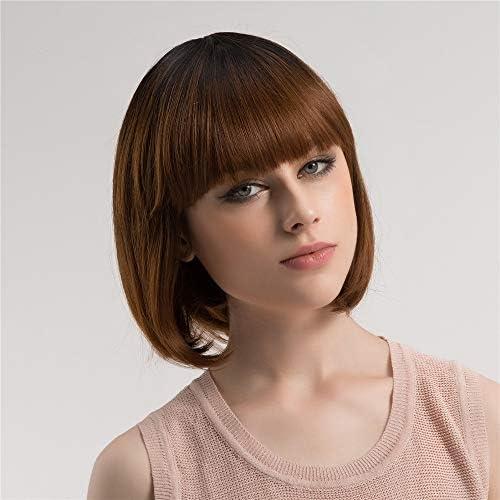 Wsw かつら女性かわいいグラデーションカラー前髪BOBヘッドストレートケミカルファイバーヘアウィッグヘッドギア 自然にリアル