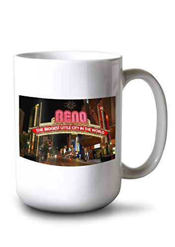 (Lantern Press Reno, Nevada - Neon Lights at Night - Photography A-97747 97747 (15oz White Ceramic Mug))