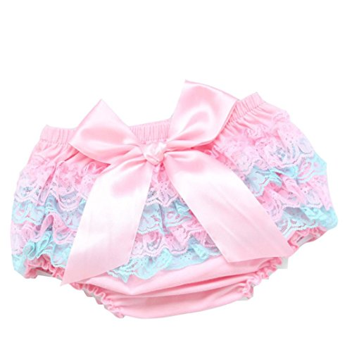 Lanhui Toddler Baby Girl Lace Ruffle Bloomer Nappy Underwear Panty Diaper Cover (Pink1, 24Months) (Baby Fancy Panties)