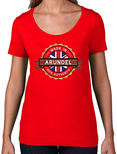 Made In ARUNDEL 100% Authentic - Womens Scoop Neck T-Shirt- 7 Colors Red - Arundel In Shops