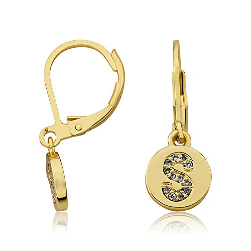 - Little Miss Twin Stars 14K Gold Plated Earring Initial Alphabet Letter
