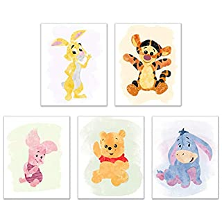 Winnie The Pooh Watercolour Art Nursery Prints (Set of 5 Photos - 8 inches x 10 inches) Piglet Tigger Eeyore Rabbit Childrens Wall Decor