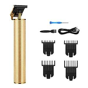 Skäggtrimmer, män skäggtrimmer hårklippningsmaskin män hårtrimmer hårklippare kroppsrum vattentät 5 i 1 från huden (gyllene)