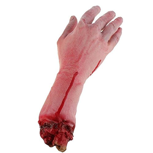 Arm Body Parts (Realistic Latex Gory Human Arm Hand Life Size Scary Bloody Blood Body Parts for Halloween Party Indoor Outdoor Prop and Cosplay Decor)