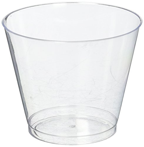 Crystal Clear Tumbler - Hard Plastic Tumblers 9 oz Party Cups-Old Fashioned Glass, 100 Count Drinking Glasses Crystal Clear