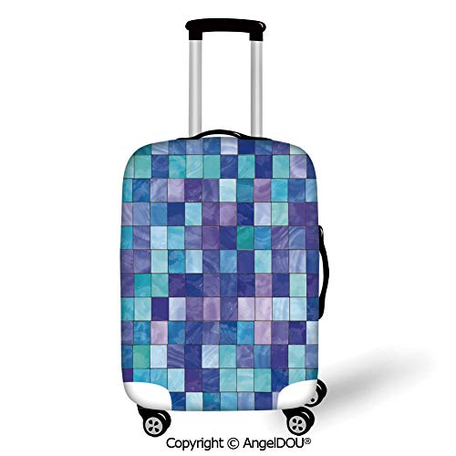 AngelDOU Trolley Trunk Dust Case Cover Travel Accessories Navy and Teal Stained Glass Inspired Design Checkered Pattern Dreamy Fantasy Colors Shades Decorative Multicolor Elastic Luggage Dust Cover.