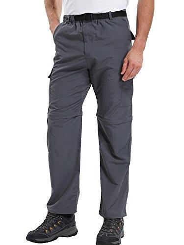 Jessie Kidden Mens Quick Dry Convertible Cargo Pant#ZB02,Grey,XS 30
