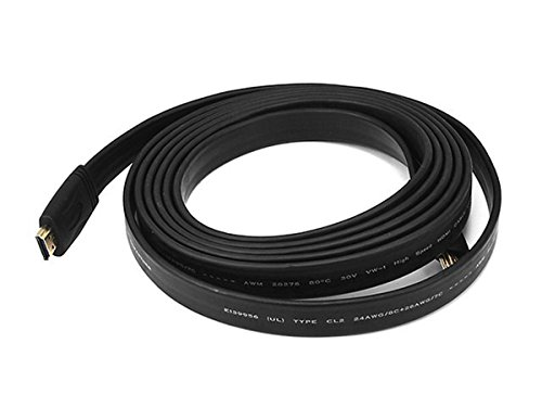 Monoprice 104159 Commercial Series Flat High Speed HDMI Cable, 4K @ 24Hz, 10.2Gbps, 24AWG, CL2, 10ft, Black