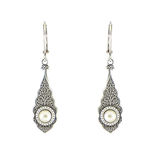 Ornate Silverplate Teardrop Hanging Style Leverback Dangle Earrings (White)