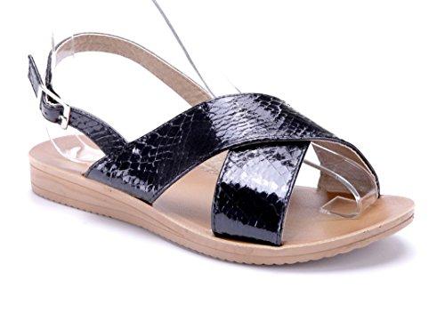 Schuhtempel24 Damen Schuhe Sandalen Sandaletten Flach Schwarz