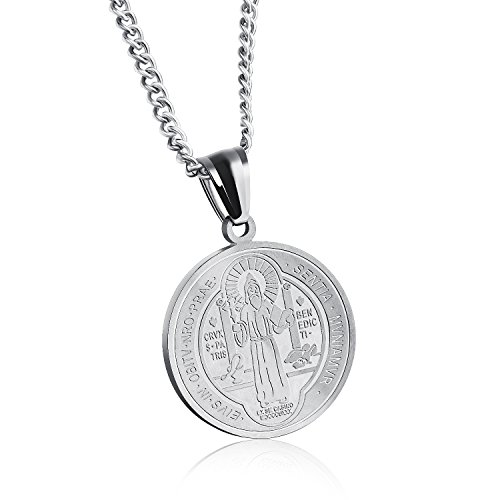 Initial 18k White Gold Pendant (San Benito - Saint Benedict Exorcism Medal Catholic Cross Protection Gold Plated Solid Stainless Steel Pendant Necklace - Religious Jewelry White Gold)