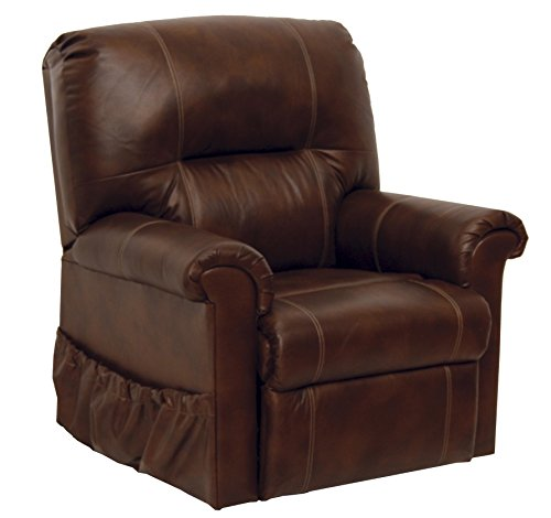Catnapper Power Lift Full Lay-out Chaise Recliner with Comfort Coil Seating - Top Grain Leather Where the Body Touches - Stylish Padded Arms (Tobacco) - Weight Capacity 350 (Brown Leather Motion Home Theater)