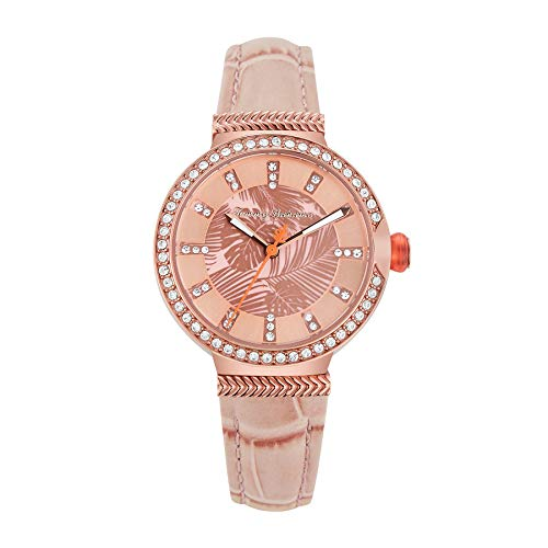 Tommy Bahama Women's Stainless Steel Japanese Quartz Leather Strap, Pink, 12 Casual Watch (Model: 279471RGD220)