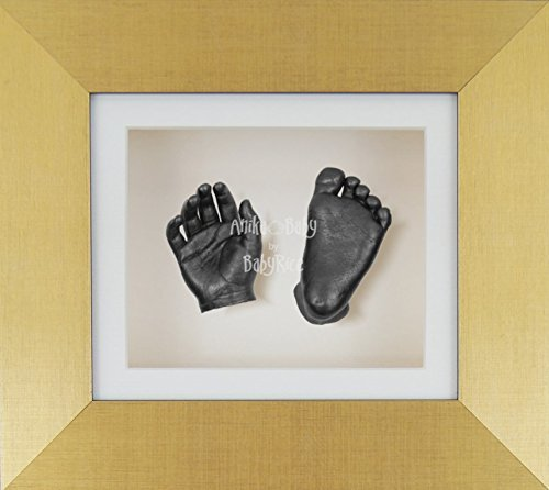 BabyRice 3D Baby Boy Casting Kit Brushed Gold Frame Pewter Foot Casts