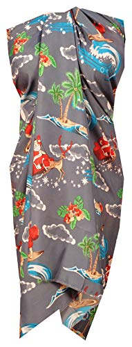 Alvish Sarong 41 Christmas Santa Claus Party Swimsuit Wrap Camp Pareo Holiday Beach Gray -