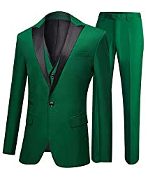 One Button 3 Pieces Green Wedding Suits Notch Lapel Men Suits Groom Tuxedos