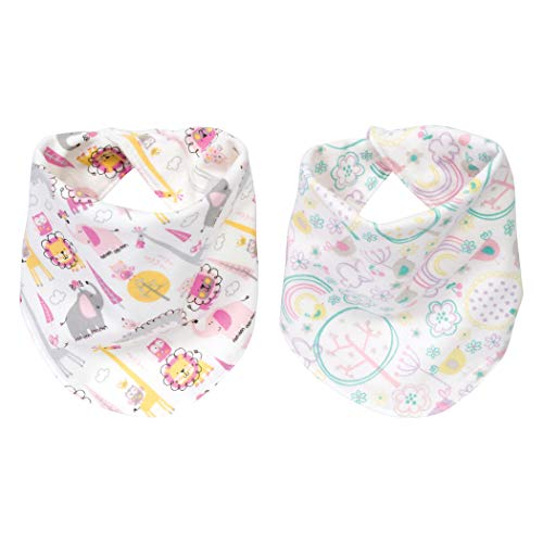 Safari Flannel - Trend Lab Pink Safari 2 Pack Reversible Flannel Bandana Bib Set