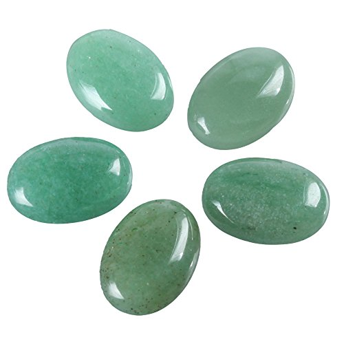 Green Charm Oval - 8pcs Natural Green Aventurine Oval Cabochon Flatback Gemstone Cabochons 20x15mm GN32
