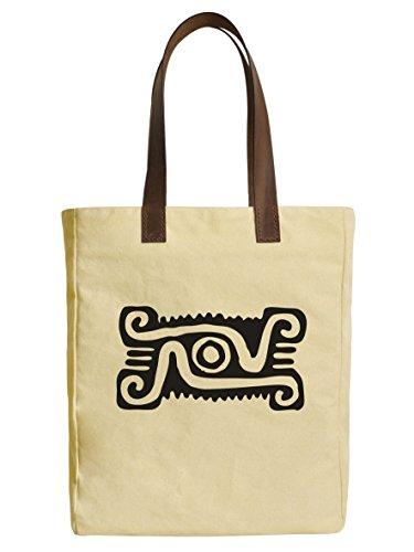 Mexican Icon 2 Beige Printed Canvas Tote Bags Leather Handles WAS_30 (Icon 2 Handle)