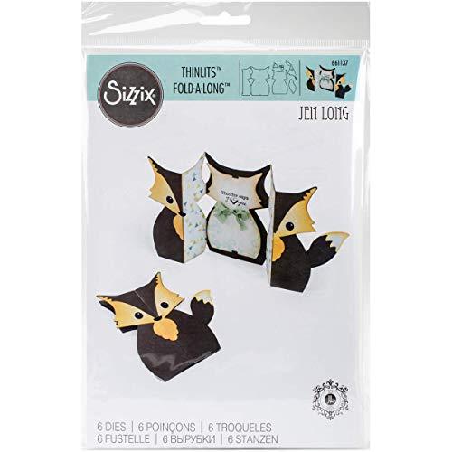 Sizzix 661137 Card Fox Label Fold-a-Long Thinlits Die Set by Jen Long (6 Pack)