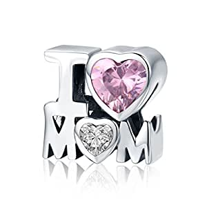 Mum Charms I Love You Forever 925 Sterling Silver Heart Charm Bead fit Women Bracelet or Necklace Jewelry Gift Boxed