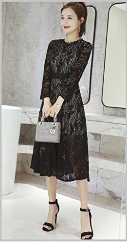Cotylédons Women`s Robes Taille Haute Ramassent Broderie De Dentelle À Manches Longues Cou Noir