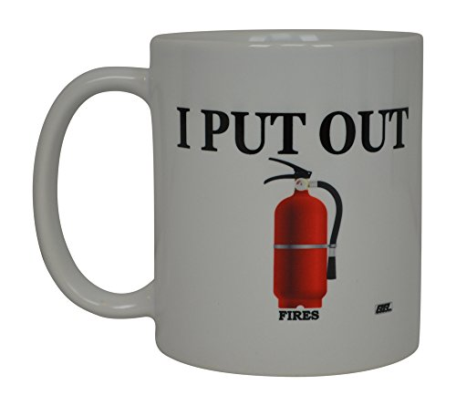 Funny Coffee Mug Best Firefighters I Put Out Novelty Cup Great Gift Idea For Fire Fighter FD Fire Department (Hero)]()
