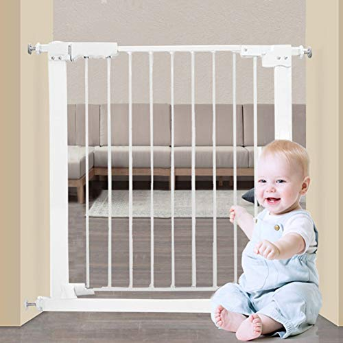 Fairy Baby White Extra Wide or Narrow Baby Gate Pressure Mounted Pet Gate Walk Thru Child Safety Gate with Extensions(25.59″-84.65″)