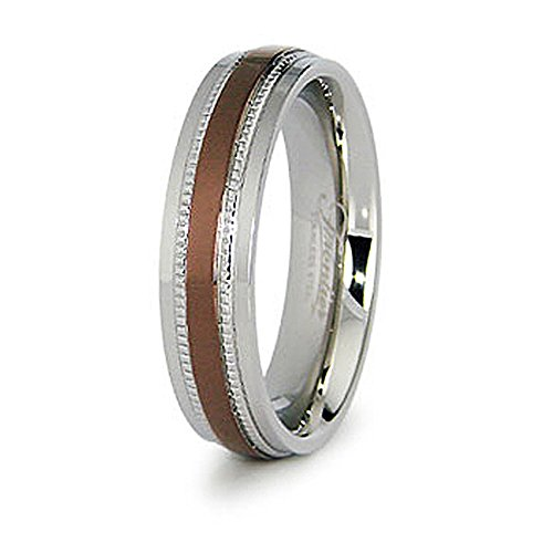 Espresso Plated Center - West Coast Jewelry 6mm Stainless Steel Ladies' Ring with Espresso Plated Center - Size 8