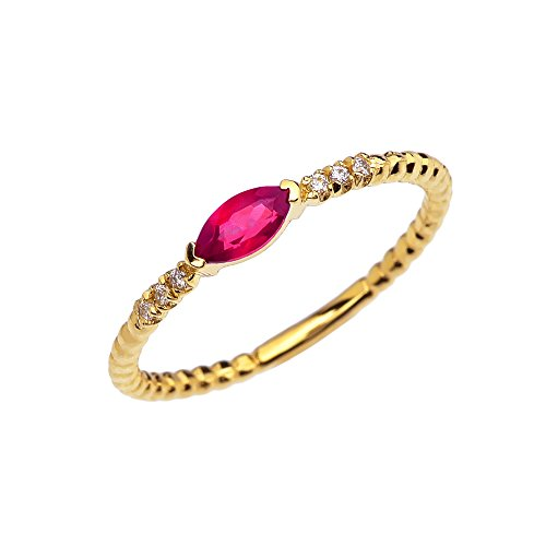 14k Yellow Gold Dainty Diamond and Marquise Ruby Beaded Stackable/Promise Ring(Size 9)