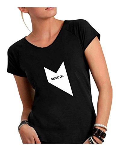 Cotone in Divertente Ampio a T Nero Shirt Vivo Made Humor Fiammato Italy Scollo Music Donna Taglio On 6pUq1E