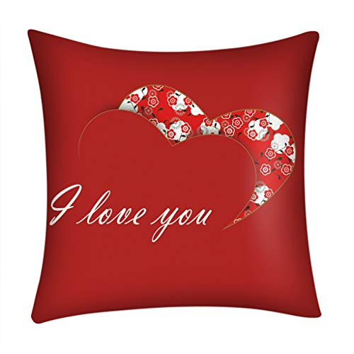 Aobiny Valentine's Day ❤❤❤Best Gifts For Lover Sweet Letters Sweetheart Love Dog Paw Prints In Red Polyester Cotton Decorative Throw Pillow Case Cushion Cover Square Sofa Car Home Decor - 45X45cm❤ (C)