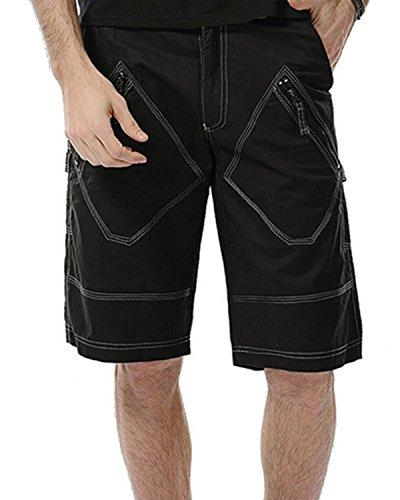 Cargo Pocket Dress (JoJoJoy Men's Casual Loose Fit Washed Cargo Shorts Zipper Multi-Pockets Outdoor Wear Black Size 40)