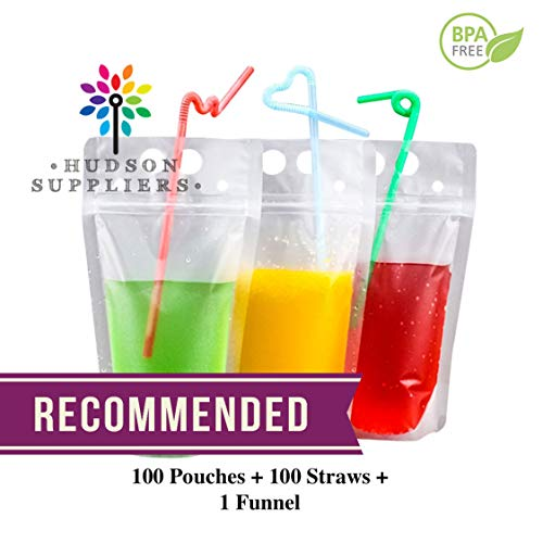(100 Premium Stand-up Plastic Pouches Bags with 100 Drink Straws, Reclosable Heavy Duty Hand-Held Translucent Reclosable Heavy Duty 500 ML by Hudson Suppliers)