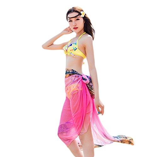 UK_Stone Damen Übergroesse Modisch Pink Baum Pattern Sarong Pareo Strandtuch Wickeltuch Bikini Sonnenschutz Decke Cover-up