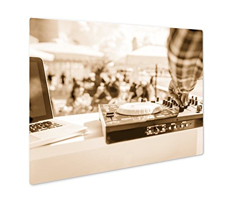 Ashley Giclee Dj Mixer Close Up While He Is Mixing, Wall Art Photo Print On Metal Panel, Sepia, 16x20, Floating Frame, AG6455173